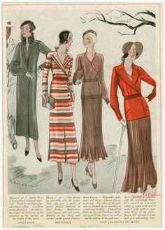 [Women's 1932 fashion ensembles by Molyneux and Jenny.]