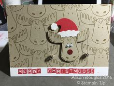 Merry Christmoose using NEW Jolly Friends stamps and Jolly Hat Builder Punch Available September 1st 2016 Stampin' Up!