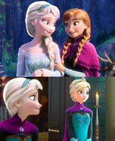 Elsa with half the hair style she had as a young child.