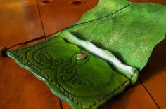 light Green Leather Tobacco Pouch by greeneternity on Etsy.