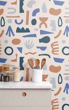 How we created Matisse-inspired wallpaper Unusual Wallpaper, Palm Wallpaper, Nursery Wallpaper, Modern Wallpaper, Design Rustique, Rustic Design, Kindergarten Wallpaper, Elle Decor Magazine, Boho Chic Interior