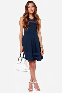 You can make it to every finish line with the Final Stretch Navy Blue Dress to push you through! Thick navy blue fabric has stripes of sheer blue mesh at neckline and hem. Junior Dresses, Cute Dresses, Casual Dresses, Short Dresses, Summer Dresses, Mesh Dress, Dress Up, Club Party Dresses, Perfect Little Black Dress