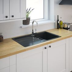 Cooke & Lewis Lamarck bowl Stainless steel & toughened glass Sink & drainer - B&Q for all your home and garden supplies and advice on all the latest DIY trends Composite Kitchen Sinks, Composite Sinks, Quartz Sink, Black Sink, Bowl Sink, Izu, Stainless Steel Sinks, New Kitchen, Kitchen Ideas