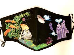 #handpaintedmask #artist #handpaintedmasks #mask #masks #artwork #madetoorder #customorder #fabricpainting #fabricart #paintedmask #fabricmask Fabric Painting, Fabric Art, Cute Creatures, Masks, Textiles, Hand Painted, Cartoon, Abstract, Artist