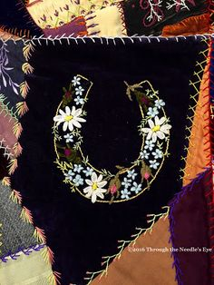 "Love this ""lucky"" flower-filled horseshoe! Telling Stories Through the Needle's Eye: Crazy Quilts, Session 3: Ribbon Fun"
