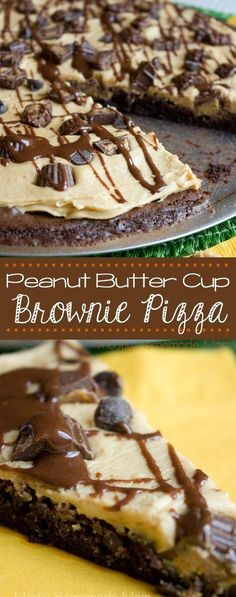 Butter Cup Brownie Pizza Peanut Butter Cup Brownie Pizza - Baked box brownie crust topped with sweet peanut butter, chopped mini peanut butter cups, and drizzled with chocolate frosting! The perfect, show-stopping dessert! Mini Desserts, Easy Desserts, Delicious Desserts, Yummy Food, Peanut Butter Cup Brownies, Peanut Butter Desserts, Peanut Butter Cups, Peanut Butter Pizza Recipe, Cookie Butter