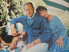 Rex Harrison photo page - magazine pictorial - life of a movie star - basset hound pet by TrulyMeVintage on Etsy