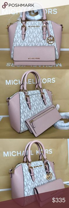 Michael Kors Set 100% Authentic Michael Kors Purse Crossbody and Wallet, brand new with tag!color Vanilla/Ballet Pink Michael Kors Bags Crossbody Bags