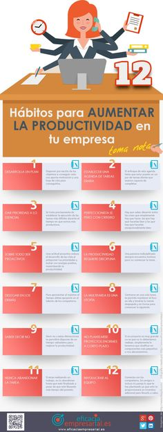 12 hábitos para aumentar la productividad de tu empresa #infografia #productividad
