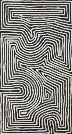ymutate:  George Tjungurrayi - Tingari- Acrylique sur toile - 52 x 94cm   source:gaia auction