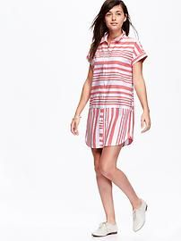 Women's Striped Oxford Shirt Dresses