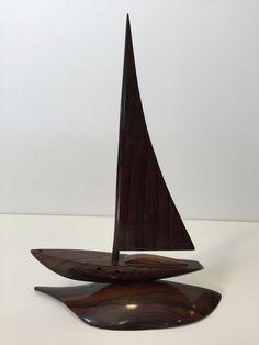 "Vintage Hand Carved Ebony Wood Miniature Sailing Ship, 12 1/2"" Tall x 9"" Wide"