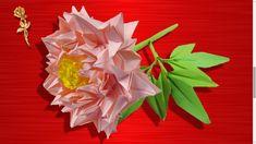 Origami :  Pivoine,  fleur de printemps