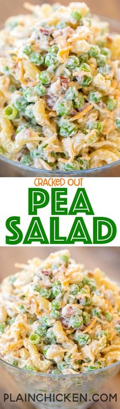 Cracked Out Pea Salad - Macaroni and green peas tossed in mayonnaise, cheddar, bacon and ranch. Great for potlucks or a side dish with a sandwiches. Great for all your spring and summer cookouts! Can make ahead and refrigerate until Pea Salad Recipes, Pasta Recipes, Cooking Recipes, Healthy Recipes, Pasta Meals, Cold Pasta Salads, Cooking Pasta, Microwave Recipes, Healthy Cooking