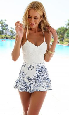 White with Printed Floral Romper