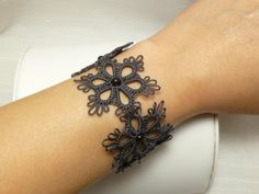 Tatted Lace Flower Cuff Bracelet in your color by SnappyTatter
