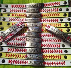 Leather baseball/softball bracelet personalized by PhyllisAnnsHFB