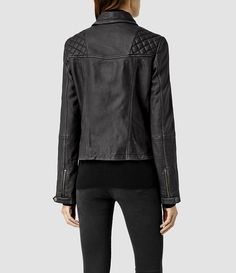 Womens Cargo Leather Biker Jacket (Black/Grey) - product_image_alt_text_3