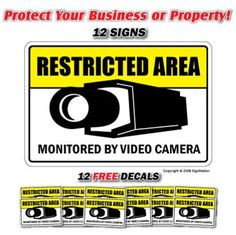 Restricted Area ~12 Signs & 12 Free Decals~ camera, Red