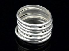 5 plain half round silver stacking rings by ThaiTreasureHut on Etsy $19.99 #jewelry #ring