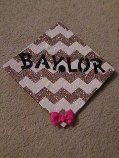 My graduation cap! #baylor #graduation #glitter #bow