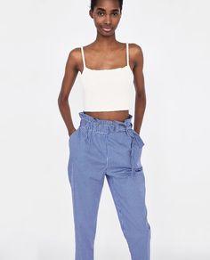 POPLIN TIE-WAIST TROUSERS - Available in more colours Tie Waist Trousers, Trousers Women, Zara Shop, Zara United Kingdom, Poplin, Parachute Pants, Harem Pants, Colours, Blazer
