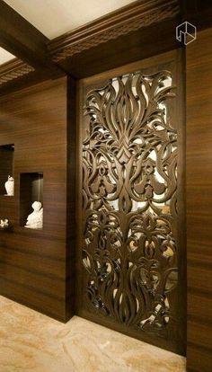 Lesser Seen Options For Custom Wood Interior Doors Living Room Partition Design, Room Door Design, Wooden Door Design, Main Door Design, Foyer Design, Entrance Design, Home Room Design, Ceiling Design, Wooden Doors