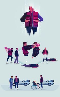 Several Back To The Future illustrations by Maïté Franchi for Focus Magazine.