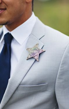 8 Unique Boutonniere Alternatives - Project Wedding  Sheriff's badge the grooms career.