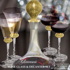 Luxurious Wedding Accessories | Champagne Flutes | Cake Sets — Glitterati Gold Sparkling Crystal Wine Glass & Decanter Set