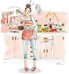 Asterisk in the illustration Production Illustration Mignonne, Cute Illustration, Autumn Illustration, Bakery Logo, Kitchen Art, Kitchen Dining, Food Illustrations, Fashion Sketches, Cute Art