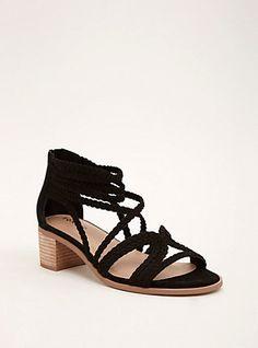 Braided Strappy Block Heels (Wide Width), BLACK
