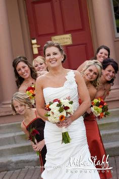 Bridesmaids and or sisters leaning out from behind zoey and tylers borhters all doing the same