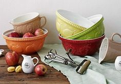 Mason Cash bowls are beautiful - Find them on the Pacific Merchants website - So many colors and styles to choose from!
