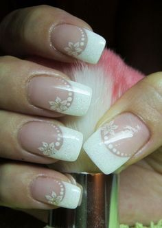 Wedding Nails For Bride Bridal - Nail Art Glitter French Manicure, French Nails, Glitter Nails, Fun Nails, Simple Wedding Nails, Wedding Nails For Bride, Wedding Nails Design, Hair Wedding, Wedding Makeup