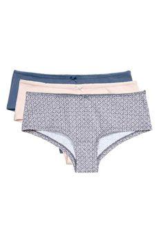 Lot de 3 shortys en coton: Shortys en jersey de coton. Taille basse. Fond doublé. Bikinis, Swimwear, Underwear, Detail, Fashion, Drop Waist, Cotton, La Mode, Bathing Suits