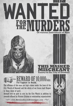 Dishonored - In-game Art - Wanted Poster Jeux Xbox One, Dishonored 2, Web Design, Graphic Design, Bioshock, Comic, Video Game Art, Dragon Age, Skyrim