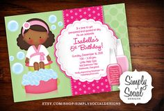 Kid's Spa Birthday Party Invitation Manicure Pedicure Nail Polish Printable African American on Etsy, $18.00