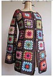 Ravelry: Veste Granny pattern by Laurence Mabit Campfire Cardigan Crochet Pattern, Cardigan Au Crochet, Crochet Coat, Crochet Teddy, Crochet Jacket, Crochet Yarn, Crochet Clothes, Crochet Motifs, Crochet Blocks