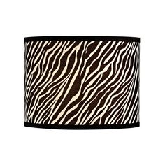 Zebra Drum Lamp Shade with Spider Assembly