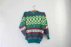 vintage 80s Slouchy Geometric Teal Blue Novelty Acrylic Knit Sweater Pull Over Unisex $20.00 by littleveggievintage