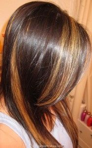 dark hair with peekaboo highlights Blonde Peekaboo Highlights, Hair Highlights, Chunky Highlights, Carmel Highlights, Orange Highlights, Blonde Peekaboos, Natural Highlights, Hair Color And Cut, Haircut And Color