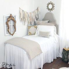 "2-in-1 30"" White Linen Skirted Coverlet | Built-In Skirt Bedspread | Dorm Room, Teen Girl, Home . Decorating a dorm room? Check out Décor 2 Ur Door for the latest dorm room decorating trends. Dorm Room Décor. Designer dorm headboard, dorm bed scarf, dorm bed skirt/dorm dust ruffle, monogram dorm room pillows, dorm room window treatment, lofted dorm bed décor, dorm room wall monogram, chair cover for dorm room, modern dorm room furniture!"