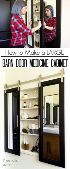How to build and install an extra large custom medicine cabinet with DIY mirrored barn doors.
