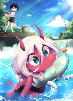 Kawaii 😍 artist : インク anime : darling in the franxx source : -bocahmitos # Anime Expo, Manga Anime, Anime Art, Anime Kawaii, Hokusai, Waifu Material, Image Manga, Zero Two, Another Anime
