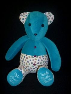 Memory Bear PHYLLIS--Is a half & half bear made from women's shirts.  With personalized feet.