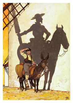 """Don Quixote, """"Fight against the three giants: Fear, Injustice, and Ignorance."""" Don Quijote [Daniel Torres] Man Of La Mancha, Dom Quixote, Dali Paintings, Fairytale Cottage, Homemade Art, Fantasy Landscape, Conte, Silhouette, Windmill"""