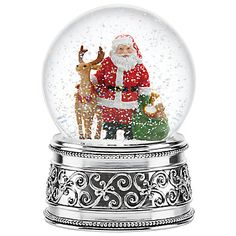 LENOX Reed & Barton: Snowglobes & Waterglobes - Santa and Reindeer Holiday Musical Snowglobe