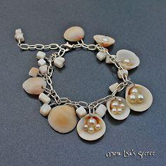 Seashell Bracelet, Pearl Bracelet, Cluster Bracelet, White Bracelet, Mermaid Bracelet, Seashell Jewelry, Beach Style Jewelry on Etsy, $22.00