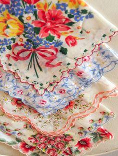 Sweet Collection of Vintage Hankies  Floral by EadiesElephants